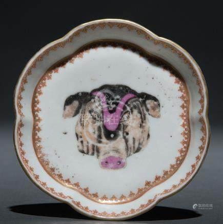 Plato polilobulado en porcelana de compañía de Indias, Siglo XVIII