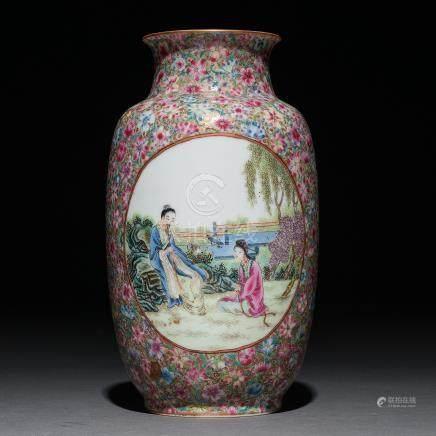 Jarrón en porcelana China Mileflori. Trabajo Chino, Siglo XX