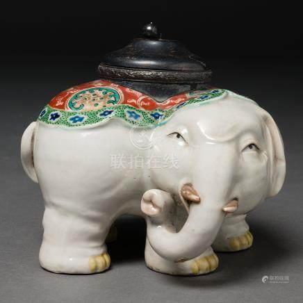 Tintero en porcelana China de Compañía de Indias. Siglo XIX