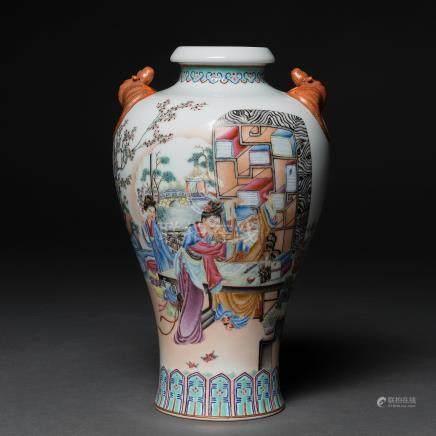 """""""Inmortal con Damas"""" Jarrón en porcelana China. Trabajo Chino, Siglo XX"""