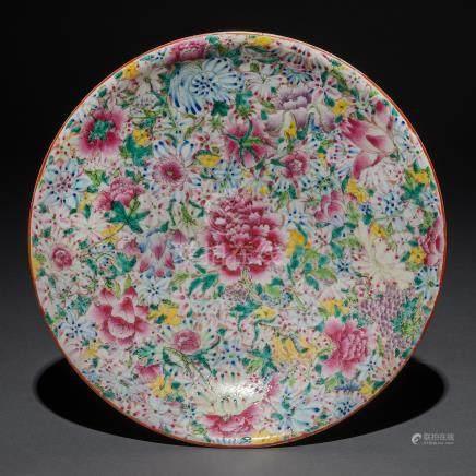 Plato circular en porcelana China mileflori. Trabajo Chino, Siglo XX