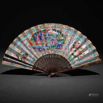 Abanico Chino de las mil caras. Trabajo Chino, Siglo XIX
