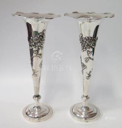 A Pair of Hong Kong Silver Vases decorated with chrysanthemums, 28cm, Wing Nam & Co., 424g
