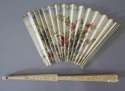 A 19th Century Chinese Carved Ivory Brise Fan with detached painted chicken skin fan, 29.5cm