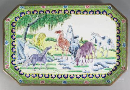 A Chinese Canton Enamel Tray decorated with horses, 26 x 17cm