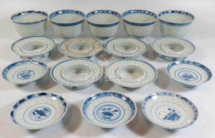 19th Century Chinese Blue and White Rice Patern Bowls with stands and covers
