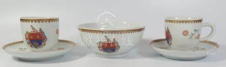 A Five Pierce Collection of Chinese Export Style Porcelain bearing the crest of the Pierson family