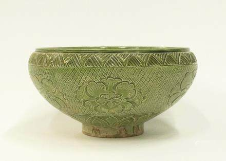 A Chinese Green-Glazed Cizhou Porcelain Bowl  宋代-磁州窯綠釉缽式刻花碗