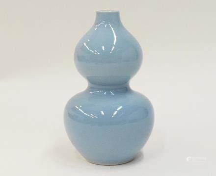 A Chinese Guan Porcelain Gourd-Form Vase 官窯長春同慶款葫蘆瓶「慈禧太后專用」