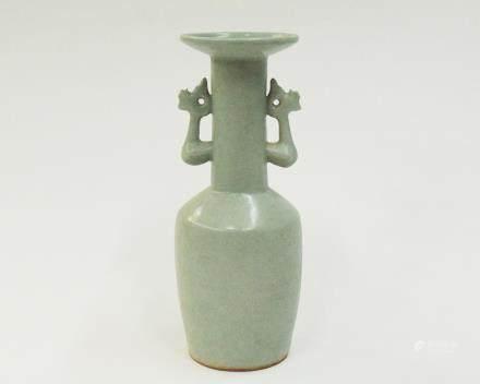 A Chinese Longquan Porcelain Twin-Phoenix  Mallet Vase 宋~元-龍泉雙鳳首盤口瓶