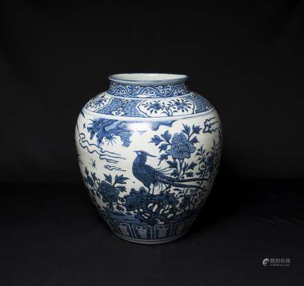 A Chinese Blue and White Porcelain Jar明萬曆-青花花鳥紋大罐