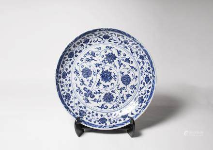 A Chinese Blue and Chinese Porcelain Dish 明代-「大明宣德年製」款青花纏枝蓮紋大盤