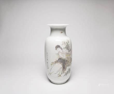 Liu, Jiyou A Chinese Vase 劉繼卣  刻瓷仕女花瓶