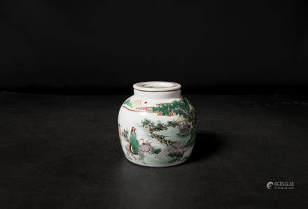 A Chinese Famille Rose Porcelain Jar 清康熙-「旭昇清元雅製」粉彩山水人物小罐