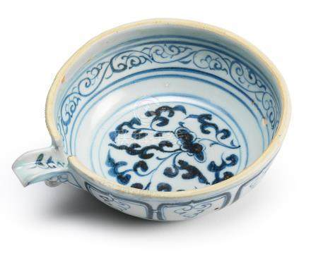 A rare blue and white pouring bowl Yuan Dynasty