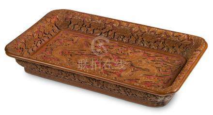 An exceptionally rare Imperial carved yellow and red lacquer 'dragon' tray Wanli mark cyclically dated Renchen year, corresponding to 1592 and of the period