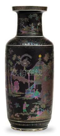 A rare lac burgauté porcelain 'four arts' rouleau vase  18th century (2)