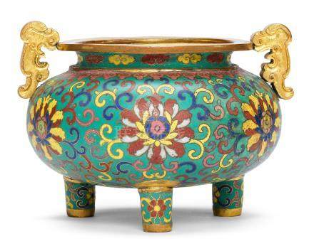 A gilt-bronze and cloisonné enamel tripod incense burner Incised Qianlong four-character mark and of the period