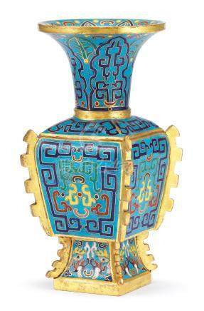 A fine archaistic gilt-bronze and cloisonné enamel vase, zun Incised Qianlong four-character mark and of the period