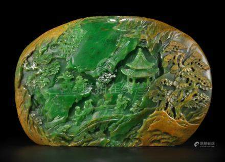 A superb spinach-green jade 'Three Immortals' boulder Qianlong (2)