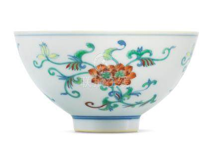 A very rare doucai 'double lotus' bowl Yongzheng six-character mark and of the period (2)