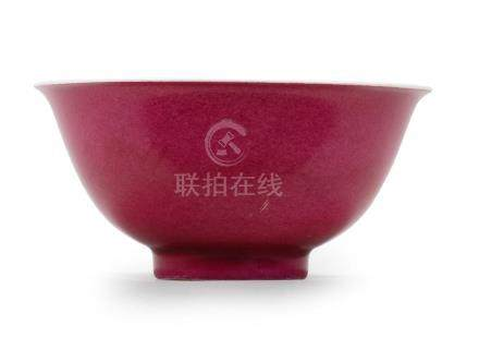 A very rare Imperial ruby-enamelled tea bowl  Yongzheng four-character mark and of the period