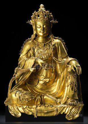 A very rare gilt-bronze figure of Guanyin Yuan/Ming Dynasty