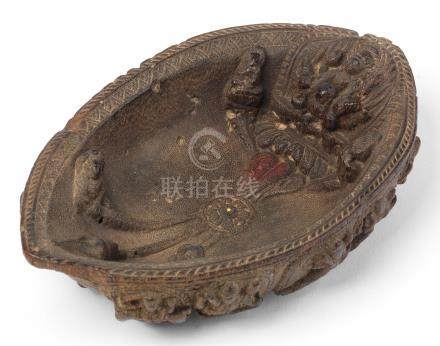 A rare and large rhinoceros horn 'Vaishnava' bowl Nepal, 17th/18th century