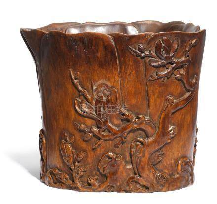 A rare and large huanghuali 'magnolia' scroll pot 17th/18th century