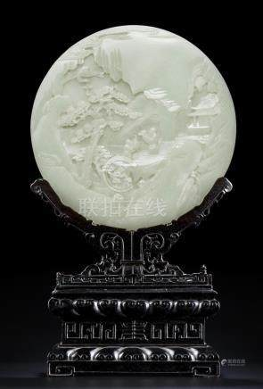A magnificent Imperial white jade circular table screen Qianlong (2)