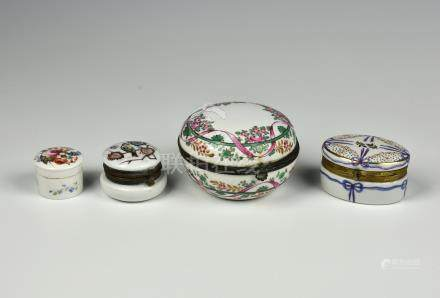 A Samson of Paris famille rose porcelain box, late 19th century, the domed circular box with