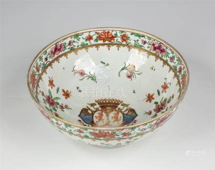 A Samson of Paris porcelain armorial punch bowl, late 19th century, painted in Chinese export
