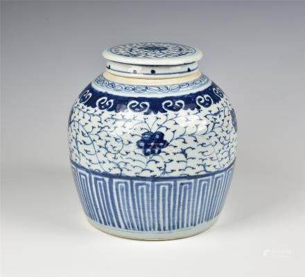 A Chinese porcelain Ming style jar, probably late 19th / early 20th century, decorated with