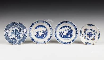 A matched pair of Chinese porcelain blue and white saucers, probably Kangxi period (1662-1722), with