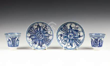Two Chinese porcelain blue and white tea bowls and saucers, Kangxi four character marks and probably