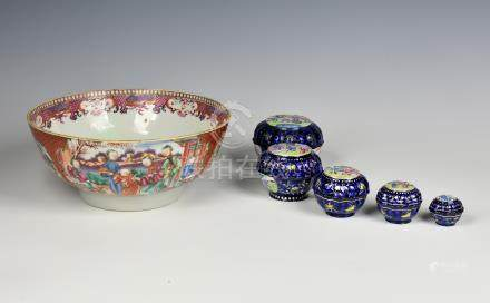 A nested set of six Chinese famille rose enamel pots and covers, 19th century, each pot of lobed