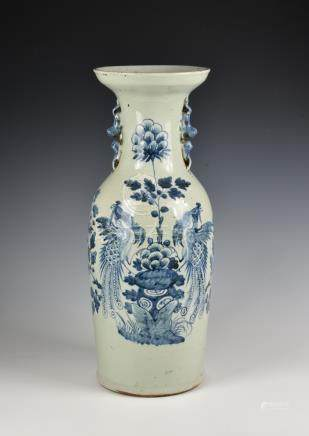 A 19th Century Chinese celadon glazed and blue and white decorated baluster shaped vase, with double