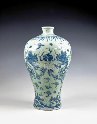 A Chinese Yuan or early Ming style porcelain Meiping vase, painted in blue against a pale celadon