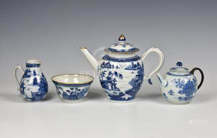 A Chinese export porcelain sparrow beak cream jug, late 18th century, painted in blue and white