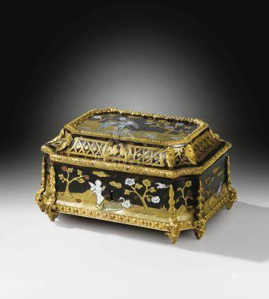 A Louis XIV gilt-bronze mounted tortoiseshell, mother-of-pearl, stained horn, brass and pewter marquetry casket, circa 1700-1710