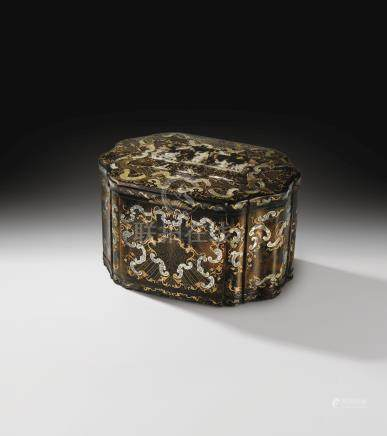 An Italian tortoiseshell, engraved mother-of-pearl and gold piqué casket, Naples, first half 18th century, circa 1730-1740, attributed to Giuseppe Sarao