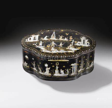 An Italian tortoiseshell, engraved mother-of-pearl and gold piqué oval casket, Naples, first half of 18th century, circa 1735-1745, attributed to Giuseppe Sarao