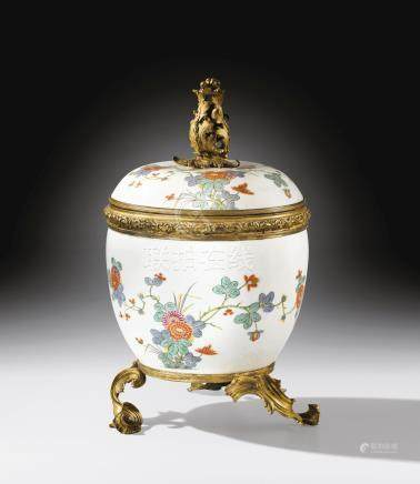 A Louis XV gilt-bronze mounted Meissen porcelain covered vase, circa 1740