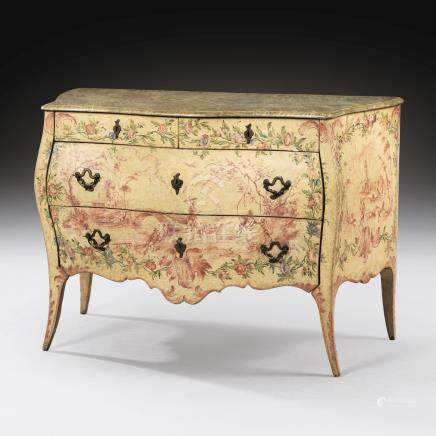 An Italian polychrome lacquered and painted commode, Genoese, mid 18th century