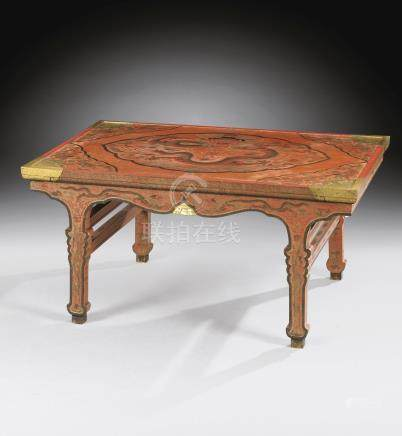 A magnificent and rare Imperial 'Qiangjin' and 'Tianqi' Lacquer Table
