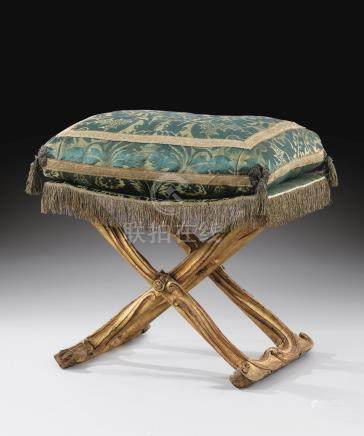 A Louis XV gilt walnut folding stool, from the Duchess of Parma at Colorno, circa 1755