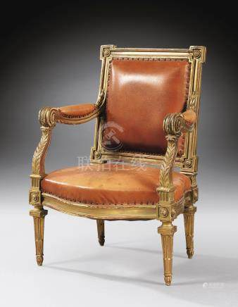 A Louis XVcarved giltwood armchair, stamped BAUVE, circa 1760-1770
