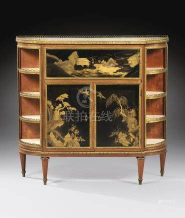 A Louis XVI sycamore, satiné and Japan lacquer meuble d'entre-deux formant secrétaire, attributed to Martin Carlin