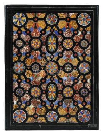 A pietre dure marquetry and silver inlaid panel, probably Roman, 17th century
