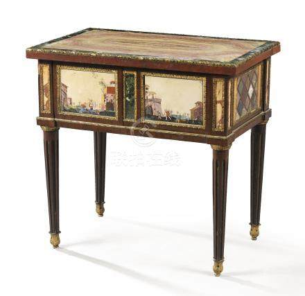 A Neoclassical taste gilt-bronze mounted amaranth, antic marbles and pietre dure table, probably Eastern Europe, 19th century, inserting two pietre dure panels, Florence, late 17th/early 18th century, and a Roman top, late 18th century